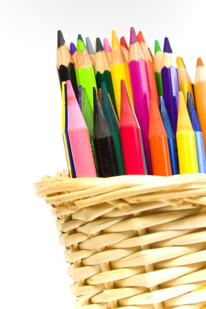 bast basket: Some color wooden pencils in a bast basket