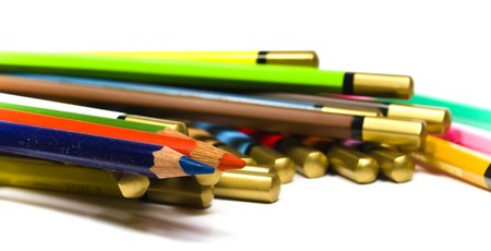 heaped: Set color wooden pencils heaped close up