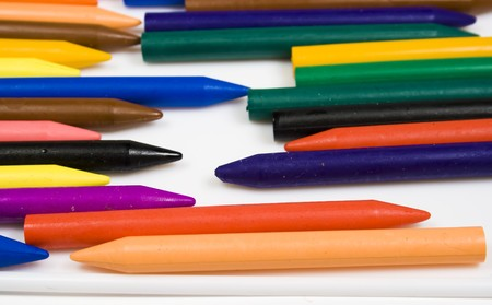 Set of wax pencils of pastel and bright colors