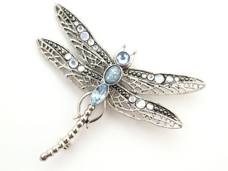 brooch: isolated dragonfly jewelry on white background  Stock Photo