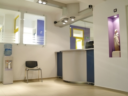 aseptic: aseptic hospital reception bureau and waiting area