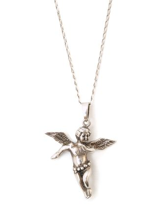 necklace with angel isolated on white background photo