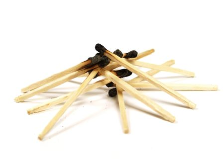 Some burned matches on white background Stock Photo - 2624220