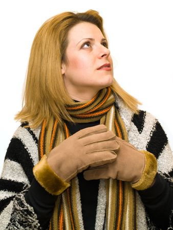 sceptic: gloves woman dressed in winter clothes Stock Photo