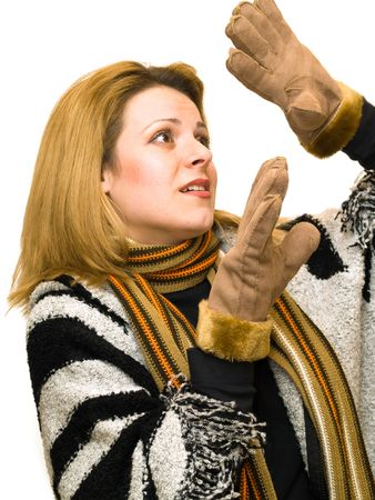 gloves woman dressed in winter clothes photo