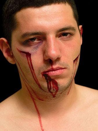 hit man portrait isolated black background
