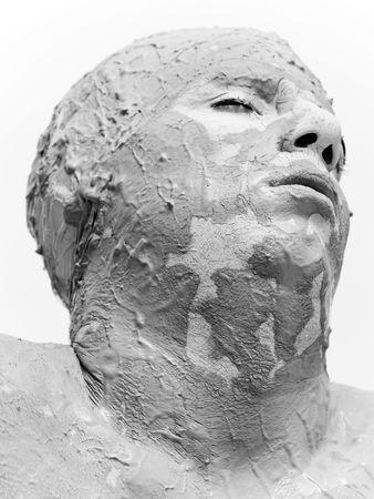sapless: dolore volto di un uomo su sfondo bianco