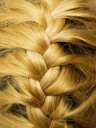 blonde woman pigtail isolated on white background Stock Photo
