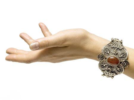 carbuncle: silver bracelet on white background isolated Stock Photo