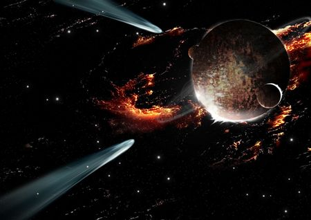 comet entering the atmosphere of a planet