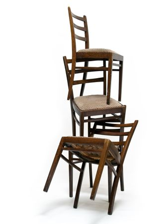 old chairs isolated on white background Stock Photo
