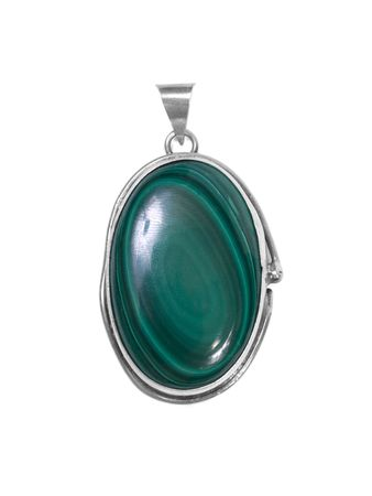 broach: emerald pendant on white isolated background