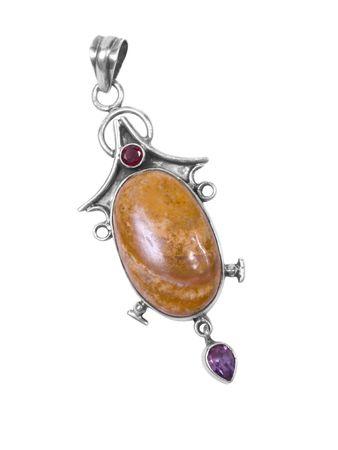amber pendant on white isolated background photo