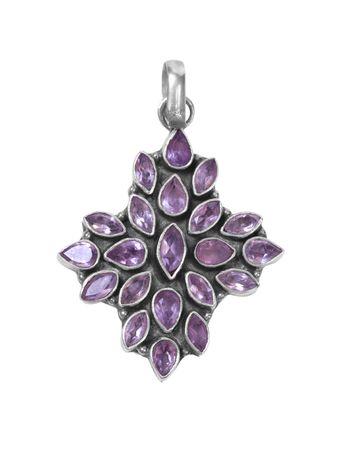 broach: purple gem pendant on white isolated background