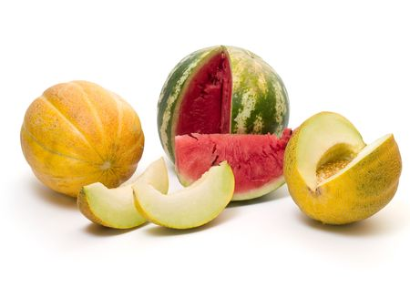 melon slices isolated on white background Stock Photo - 3447126