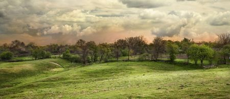 hdr background: HRD panorama with vivid colors in the sunset