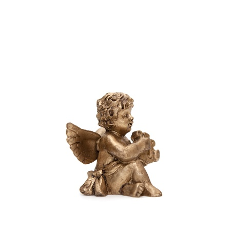 one small bronze angel isolated on white background Stock Photo