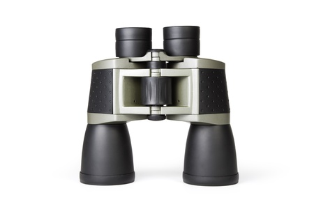 Black binoculars isolated on a white background