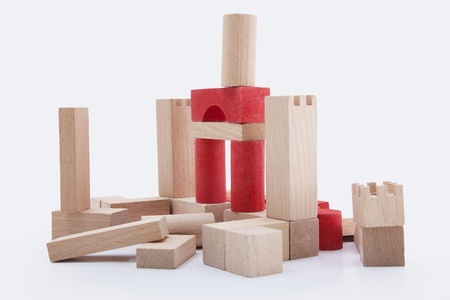 building blocks brown and red isolated on white background Stock Photo