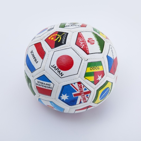 small soccer ball with flags isolated on white background Stock Photo