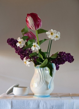 still life with tulips and lilac Stock Photo