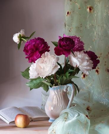 roses in vase: Beautiful peonies Stock Photo