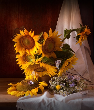 zonnebloem: Still Life with Sunflower and Butterfly