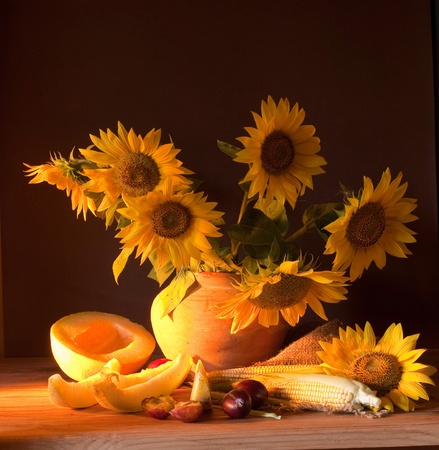Sunflower Still Life with Hibiscus photo