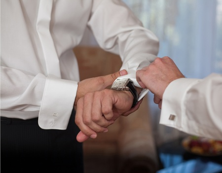 cuff links: preparation of the groom wedding ceremony