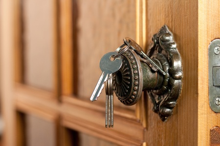 home safety: Opened door Stock Photo