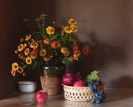 Still life with huge bunch of autumn flowers photo