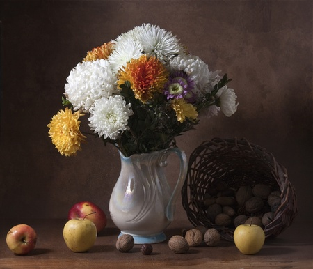still life: Still life with huge bunch of autumn flowers