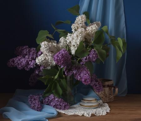 Stilleven met lila bloemen