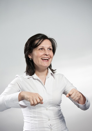 woman in white blouse on white background photo