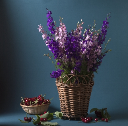 Still life with wild flowers and cherries Stock Photo - 17589343