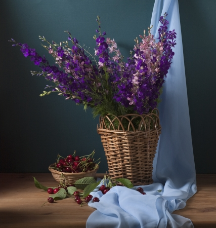 Still life with wild flowers and cherries Stock Photo - 17589359