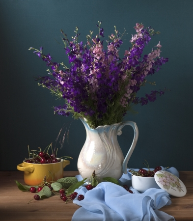 Still life with wild flowers and cherries Stock Photo - 17589329