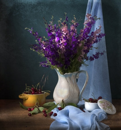 Still life with wild flowers and cherries Stock Photo - 18106736