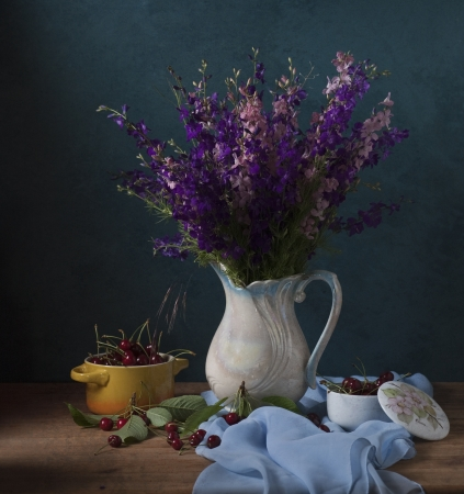 Still life with wild flowers and cherries Stock Photo - 18106654