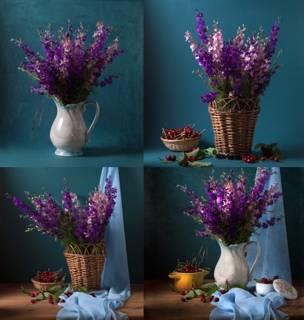 Still life with wild flowers and cherries  Set of 4 images Stock Photo - 19431686