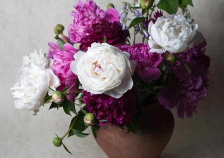 Still life with spring peonies photo