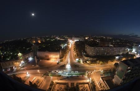Night view of the city, Kishinev, Moldova