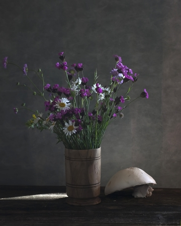 ewer: Still life with daisies and wild flowers Stock Photo