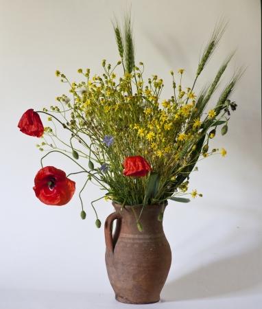 Beautiful bouquet of bright field flowers & Poppyes Stock Photo