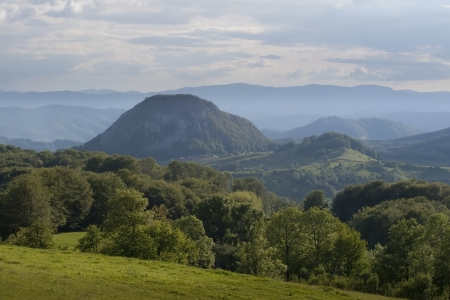 Colorful summer landscape in the Carpathian village photo