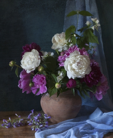 vase: Still life with white peonies in vase Stock Photo