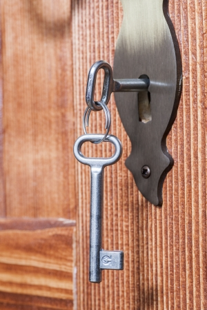 the door lock with the handle and a key