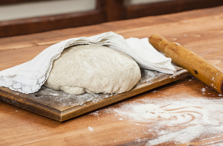 cooking implement: Fresh bread dough ready for baking