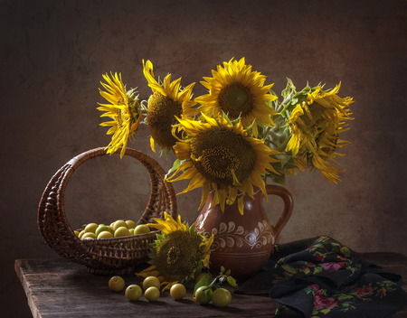 Still life with sunflowers on the table Stock Photo