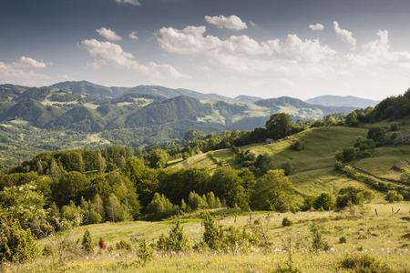 summer rural mountain landscape in Romania photo